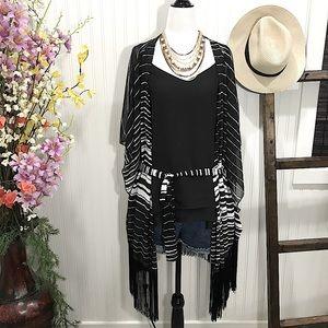 🍉25%OFF Plus 1X Black White Stripe Chiffon Kimono